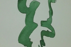 Green Brush Strokes With outline 03