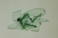 Green Brush Strokes With outline 01